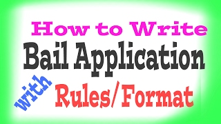 How to write bail application.Disclaimer: this video related to the law and rules, formate applicable in india.For bail application, civil Revision,  affidavit,  visitwww.youtube.com/c/lawlearningbyanuragroy