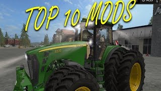 These are my favorit mods so far. I picked these mods, because of the function they have or because of the looks.Download links:10. http://www.farming2017mod.com/fendt-farmer-310-312-lsa-turbomatik-1-0-1-0-ls-17/9. http://farming2017mods.com/shed-package-v1-0-0-1/8. http://farming2017mods.com/4real-module-01-crop-destruction-v1-0-2-0/7. http://farming2017mods.com/humbaur-v1-2/6. http://farming2017mods.com/ursus-c-360-fs17-v2/5. http://farming2017mods.com/caterpillar-ct660-v1-1/4. http://farming2017mods.com/itrunner-pack-v1-0/3. http://www.farming2017mod.com/man-tgs-4157-8x8-v2-fs2017/2. http://www.farming2017mod.com/john-deere-8030-v-2-0-tractor-mod/1. http://farming2017mods.com/holmer-pack-v1-0/