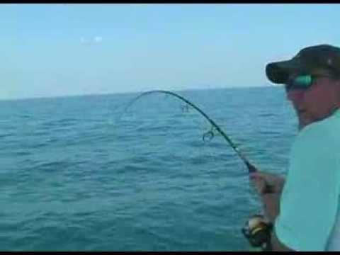 40 LB BARACUDA JUMPS INTO FISHING BOAT!!!