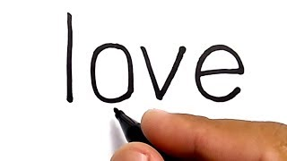 cara menggambar pasangan dengan huruf LOVE / how to draw couple with word LOVE