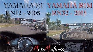 8. Yamaha R1-M 2015 vs YZF R1 2005 battle and crash