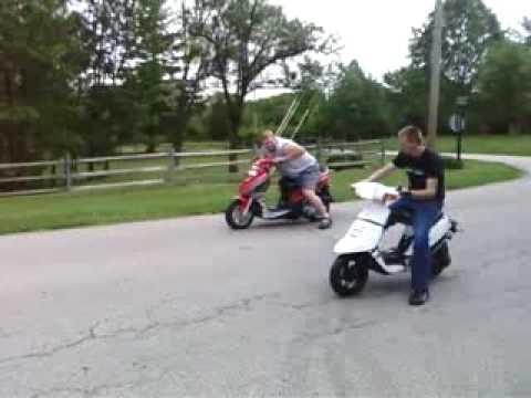 Nitrous fed 50cc Yamaha scooter vs 150cc Scooter