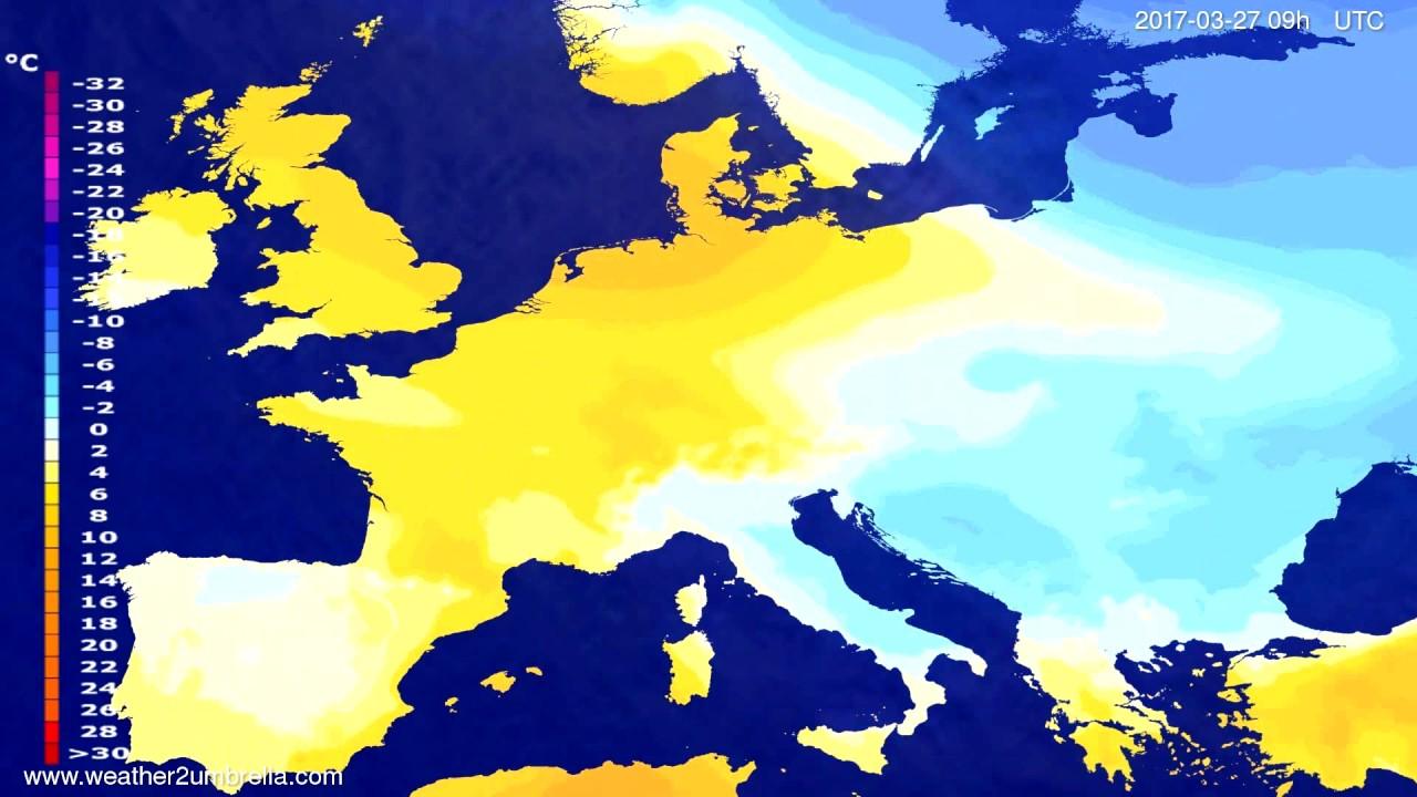 Temperature forecast Europe 2017-03-23