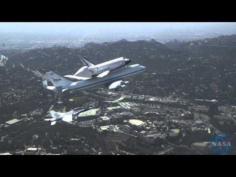 F/A-18 extended view of Space Shuttle Endeavour's flyover Southern California
