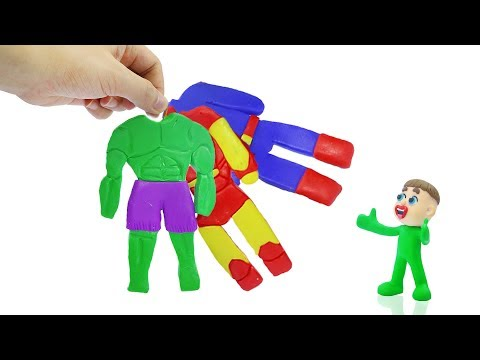 SUPERHERO BABY COSTUME DRESS UP 💖 Play Doh Stop Motion Cartoons