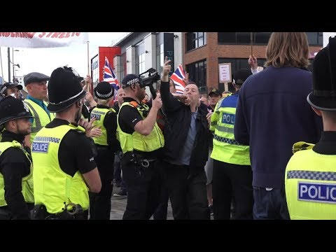 Democratic Football Lads Alliance clash with police