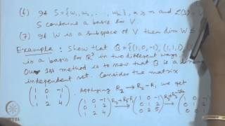 Mod-01 Lec-03 Basis, Dimension, Rank And Matrix Inverse