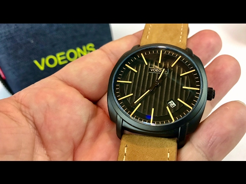 , title : 'Voeons Analog Quartz Genuine Brown Leather Strap Casual Watch review and giveaway'