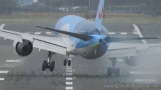140 tons of Boeing 767-300ER having a little difficulty in the late December 2016 crosswind gusts on the New Orleans flight into BHX.Check the amount of rubber left on the runway by the right hand wheels.