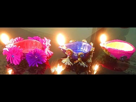 How to decorate Diyas using Yarn