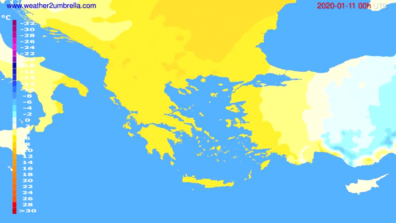Temperature forecast Greece // modelrun: 00h UTC 2020-01-10