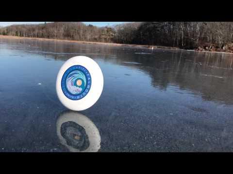 Frisbee on a windy frozen lake