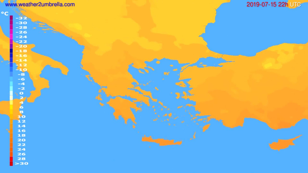 Temperature forecast Greece // modelrun: 00h UTC 2019-07-13