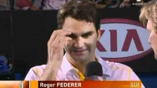 Melbs 11: 2R Roger v Simon (match point/interview)