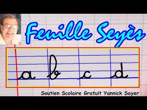Feuille seyès : De l'écriture cursive de l'alphabet à la méthode syllabique