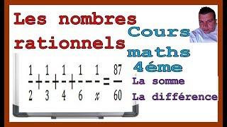 Maths 4ème - Les nombres rationnels Somme et Différence Exercice 36
