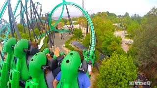 Stand-Up Roller Coaster - The Riddler's Revenge (HD POV) - Six Flags Magic Mountain