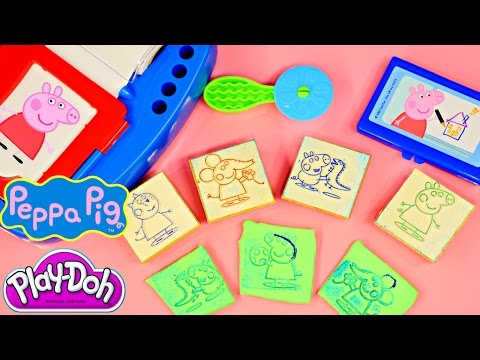 pig - Peppa Pig Sticker Dispenser Playset with Stamps of George Pig, Emily Elephant, Peppapig, Rebecca Rabbit and Coloring Markers. These Peppa The Pig Stampers work great on Play Doh and you can...