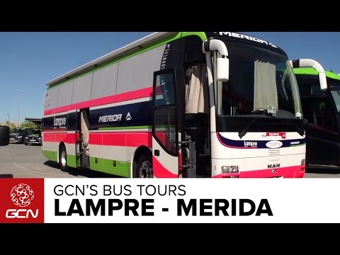 Bus - Explore the Lampre-Merida team bus with Matt Stephens. Subscribe to GCN on YouTube: http://gcn.eu/SubscribeToGCN We've nearly completed the full peloton of bus tours in 2014, so Matt Stephens...