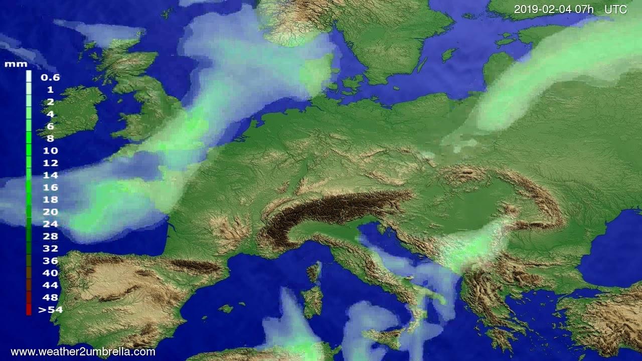Precipitation forecast Europe 2019-02-04