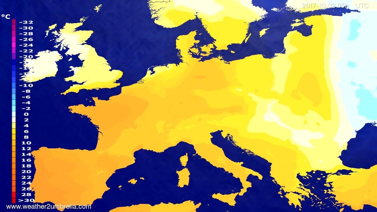 Temperature forecast Europe 2017-09-29