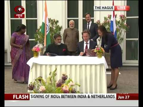 Signing of MoUs between India and Netherlands (видео)