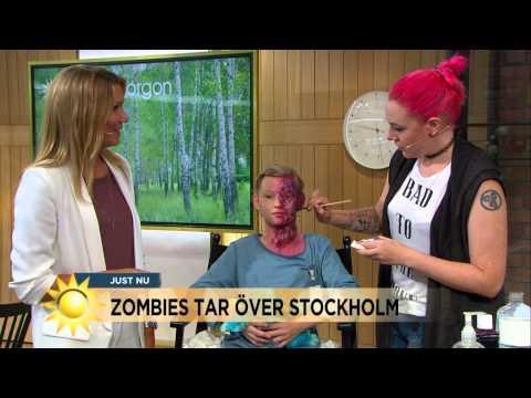 Zombies tar över Stockholm - så sminkar du dig till en Zombie - Nyhetsmorgon (TV4) (видео)