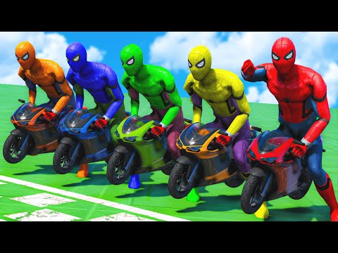 SPIDERMAN TEAM Racing Minibike Event Day Competition Challenge #8 (Funny Contest) - GTA V Mods