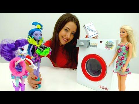 Видео для детей. Веселая Школа. Стирка с Барби. видео