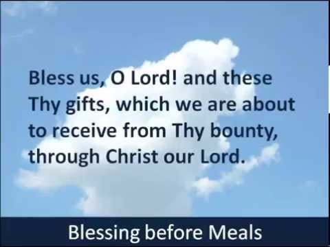 Blessing before Meals - Hear and Read the Prayer - Baltimore Catechism - 1885
