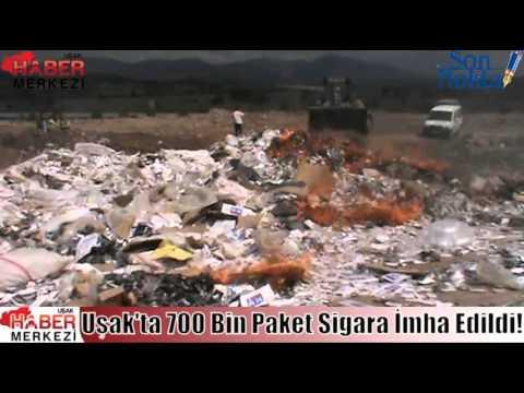 Uşak'ta 700 Bin Paket Sigara İmha Edildi!