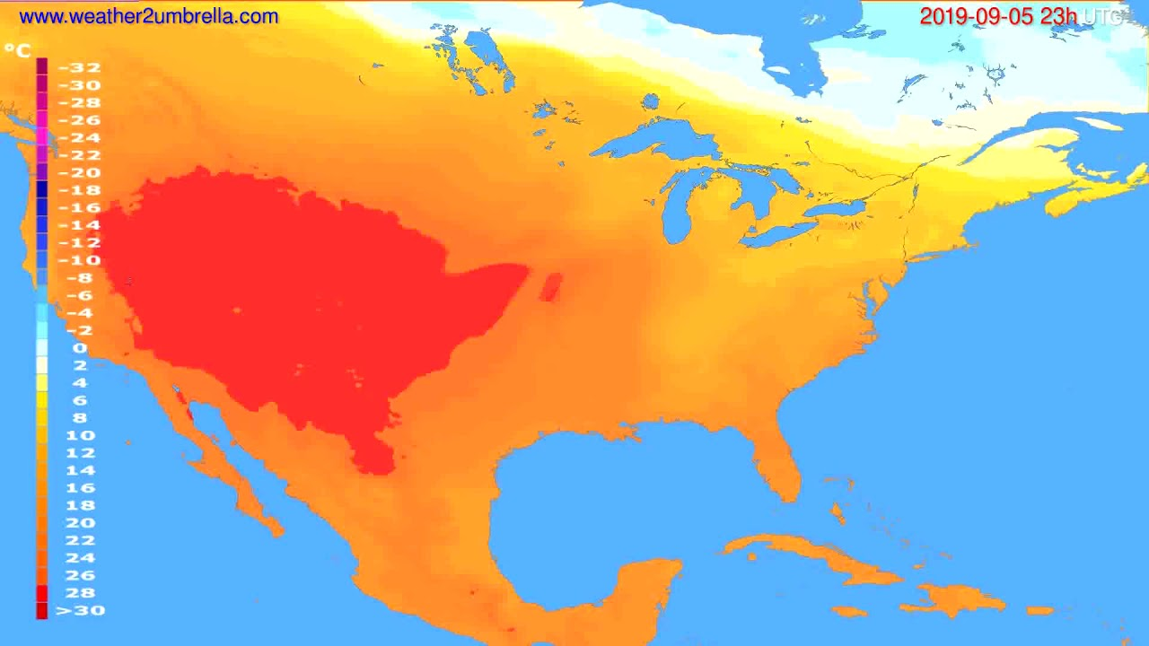 Temperature forecast USA & Canada // modelrun: 12h UTC 2019-09-02
