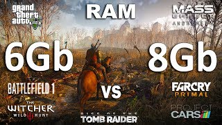 6Gb vs 8Gb RAM Test in 7 Games(GTX 1060 + i5 7600k)Games:The Witcher 3Grand Theft Auto V - 01:39Rise of the Tomb Raider - 03:45Battlefield 1 - 05:23Far Cry Primal - 06:59Project Cars - 08:02Mass Effect Andromeda - 09:28System: Windows 10Intel i5 7600k 4.5GhzGTX 1060 6Gb6/8Gb RAM Kingston DDR4-2400Mhz