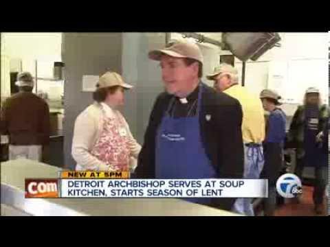 Archbishop Allen H. Vigneron Serves Lunch at SVdP's Matchan Soup Kitchen
