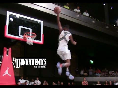 High school star dunks from the free throw line