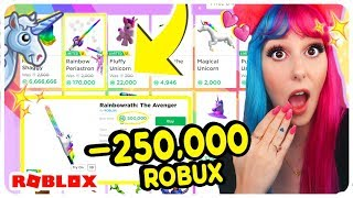 I Bought EVERY RAINBOW UNICORN ITEM in Roblox Challenge! INSANE Robux Spending Spree! 200k ROBUX!
