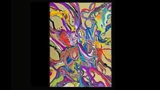 Video Fluid acrylics small ribbon poured ,gold primed canvas #3533-9.30.18 MP3, 3GP, MP4, WEBM, AVI, FLV Oktober 2018