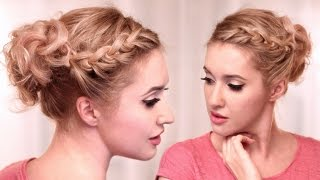 Curly updo hairstyle tutorial ❤ Knotted braid for medium long hair - YouTube