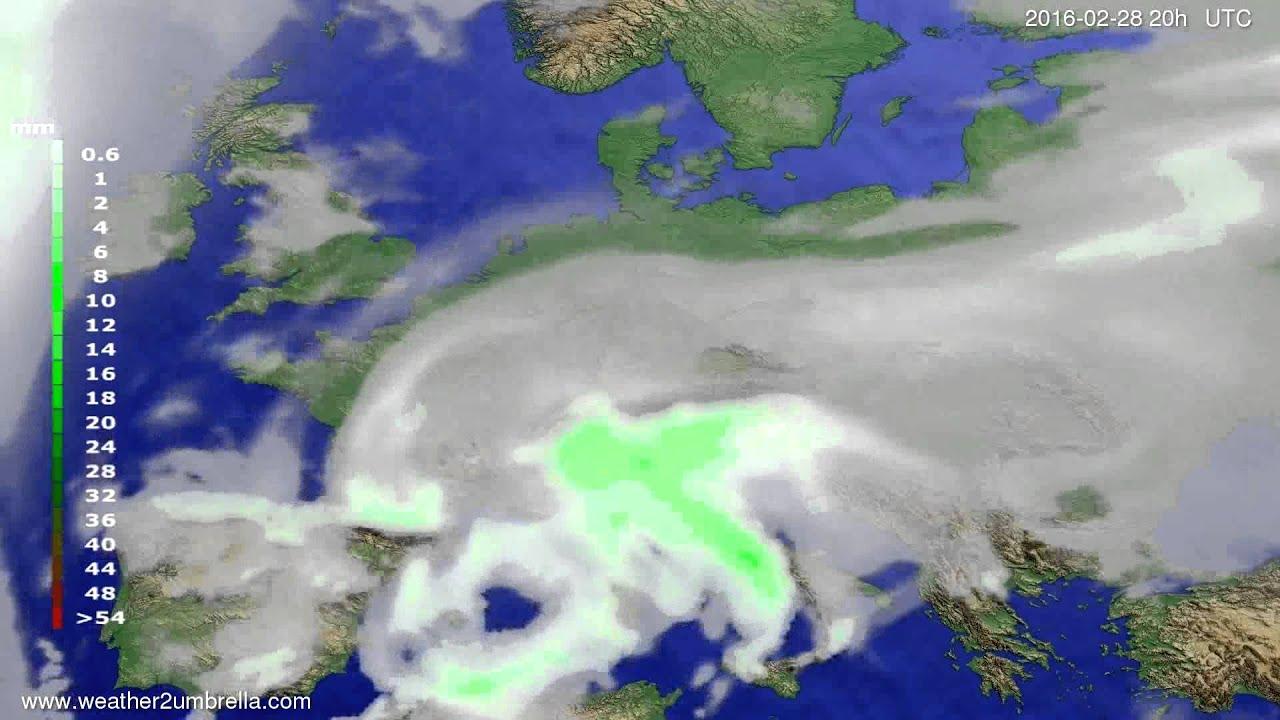 Precipitation forecast Europe 2016-02-26