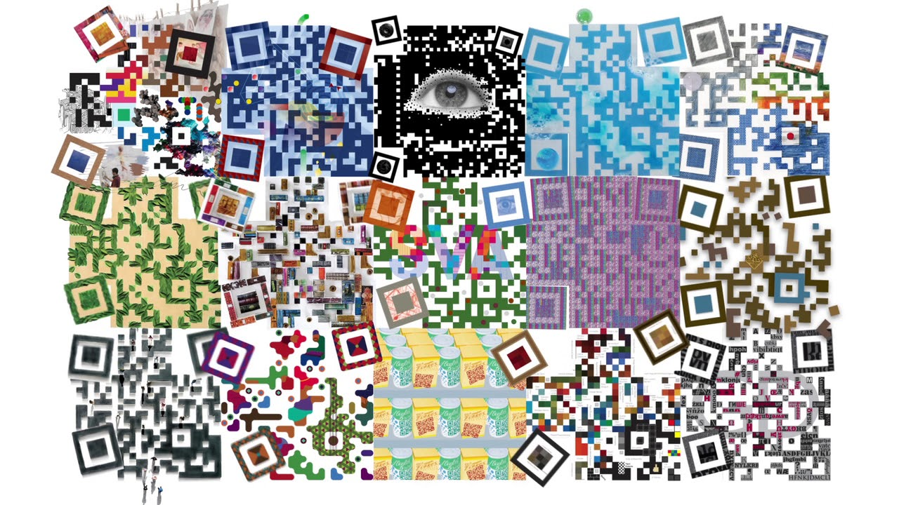 A montage of QR codes done artfully.