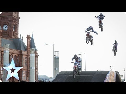 Motorcycle stunt riders jumps and flips | BoldDog FMX Team | Britain's Got Talent 2014