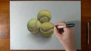 Disegno in time lapse effetto 3D: palle da tennis