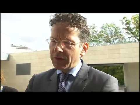 Arrival and doorstep, Eurogroup President Dijsselbloem (13 October 2014)