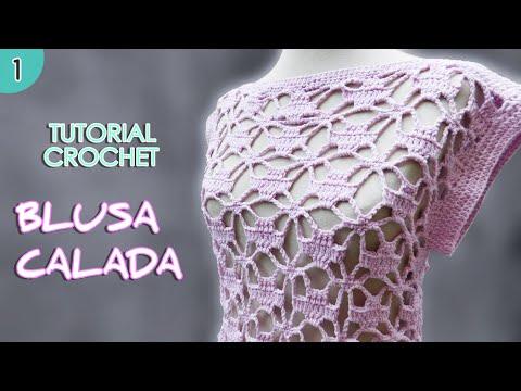 Como tejer una blusa o remera a crochet para mujer (1/2)