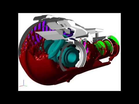 FlowVision CFD - Oil Flow in Differential Gearbox (Free Surface)