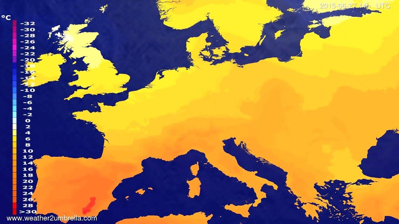 Temperature forecast Europe 2015-06-23