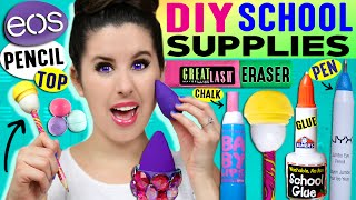 DIY Beauty School Supplies: EOS Pencil, Beauty Blender Eraser, Nail Polish Glue, Baby Lips Chalk! by GlitterForever17