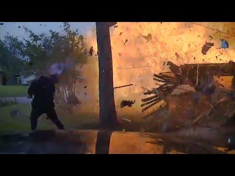 Watch House Explode in Front of Cops