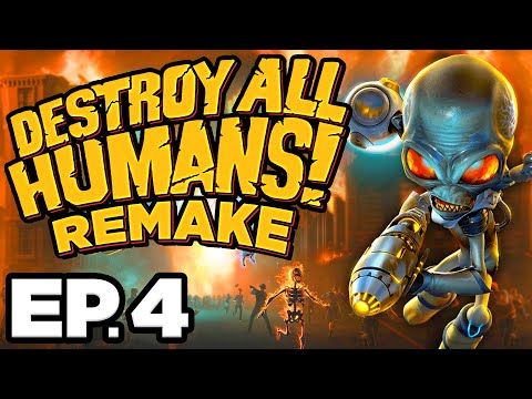 🍑 PROBE, RAMPAGE, ABDUCTION, RACE CHALLENGES! - Destroy All Humans! Remake Ep.4 (Gameplay Lets Play)