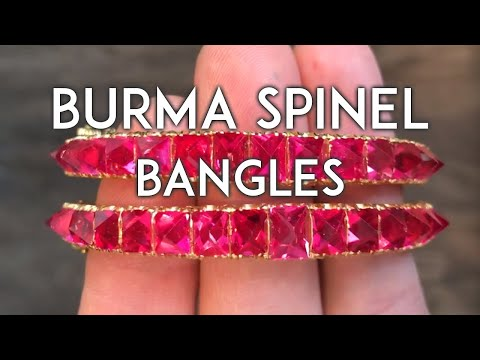 Antique Red Spinel Crystals Bangle from Burma